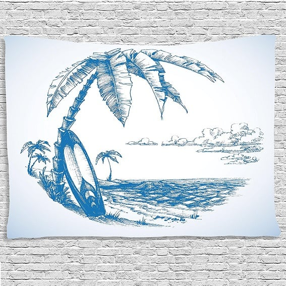 surfboard-blue-wall-tapestry Surf Decor & Surfboard Decorations