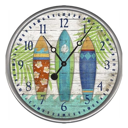 surfboard-wall-clock Surf Decor & Surfboard Decorations