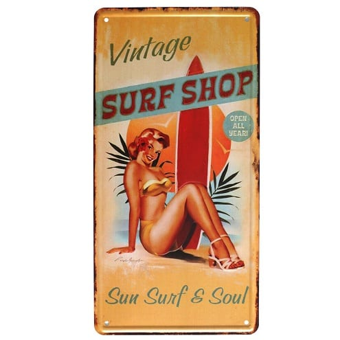 vintage-surf-shop-metal-tin-sign Surf Decor & Surfboard Decorations