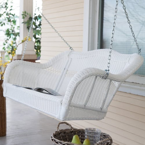 white-hanging-wicker-porch-swing Wicker Swings and Wicker Porch Swings
