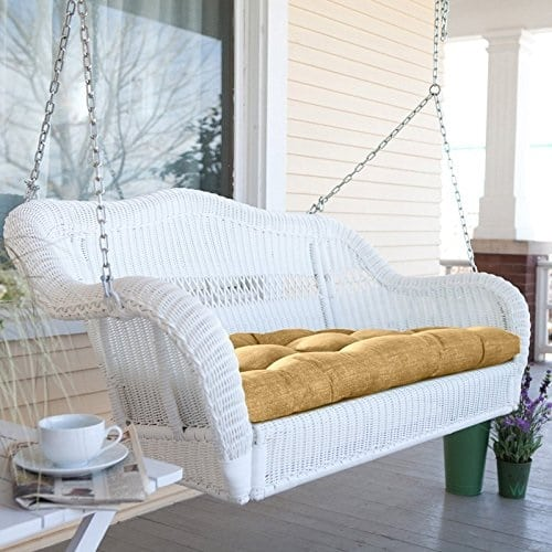 white-wicker-porch-swing-optional-cushion Wicker Swings and Wicker Porch Swings
