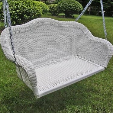 white-wicker-porch-swing Wicker Swings and Wicker Porch Swings