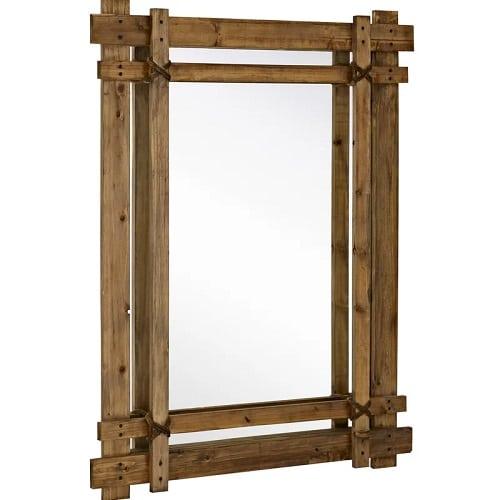 light-walnut-rugged-accent-mirror Coastal Mirrors and Beach Themed Mirrors