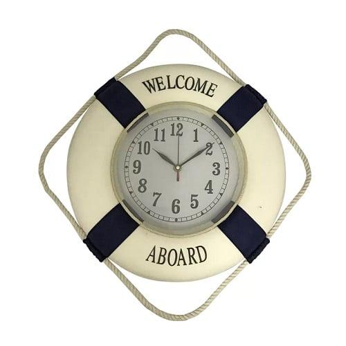 nautical-welcome-aboard-wall-clock-13 Nautical Clocks