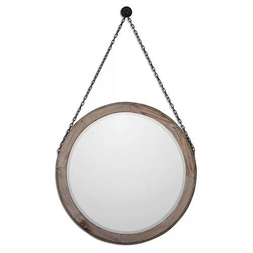 round-wood-wall-mirror-hanging Coastal Mirrors and Beach Themed Mirrors