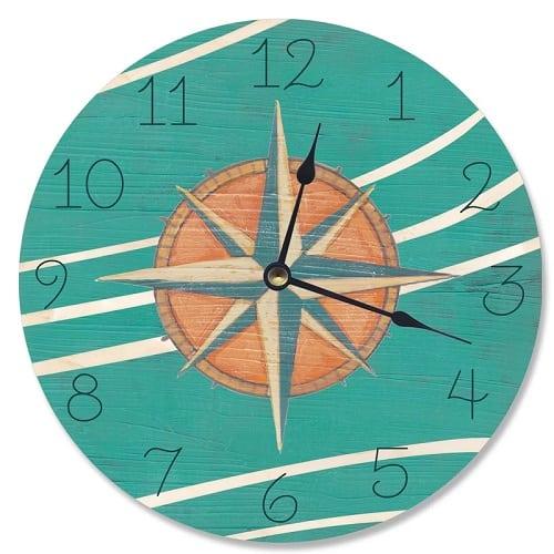 teal-and-coral-nautical-compass-clock-12 Nautical Clocks