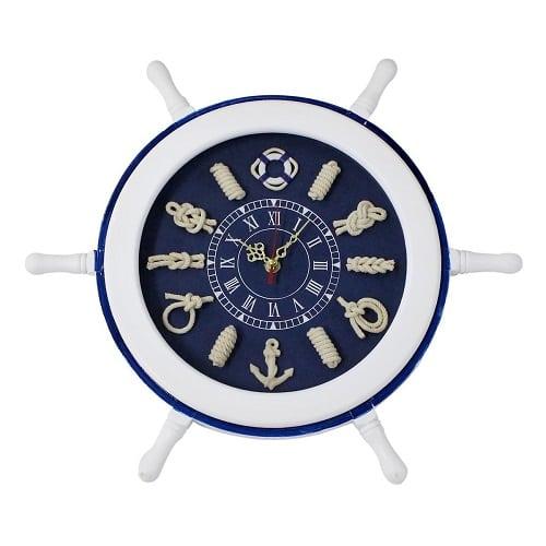 wooden-nautical-steering-wheel-wall-clock-9 Nautical Clocks