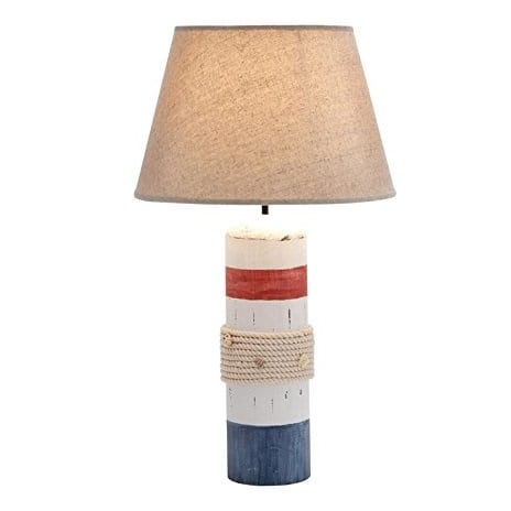 deco-79-wood-buoy-table-lamp Nautical Themed Lamps