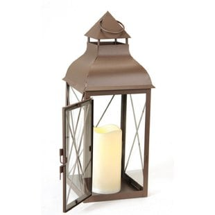 metal-lantern-with-flameless-led-lantern Nautical Lanterns and Beach Lanterns