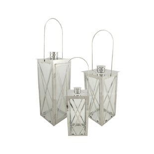 pillar-3-piece-stainless-steel-lantern-set Nautical Lanterns and Beach Lanterns