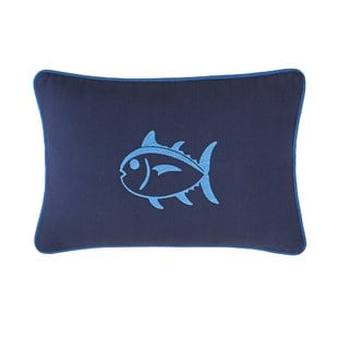 dock-street-embroidered-skipjack-cotton-lumbar-pillow Nautical Pillows and Nautical Throw Pillows