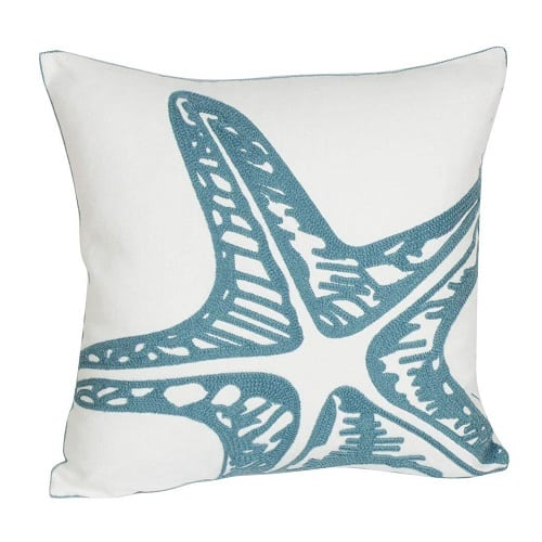 embroidered-starfish-throw-pillow Nautical Pillows and Nautical Throw Pillows