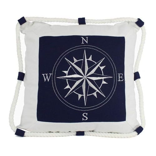 nautical-compass-rope-throw-pillow Nautical Pillows and Nautical Throw Pillows