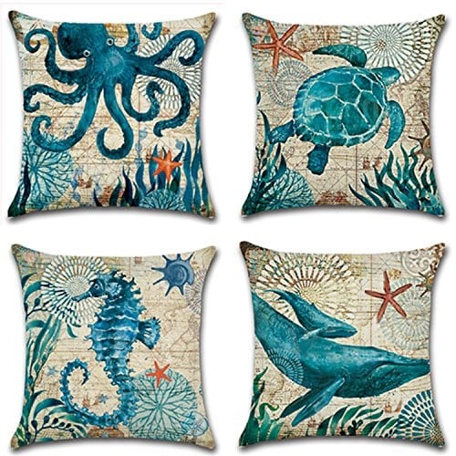 set-of-4-nautical-throw-pillow-covers Nautical Pillows and Nautical Throw Pillows