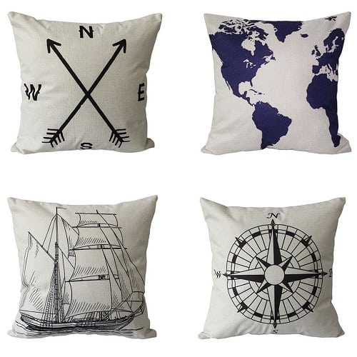 set-of-4-nautical-white-throw-pillows Nautical Pillows and Nautical Throw Pillows