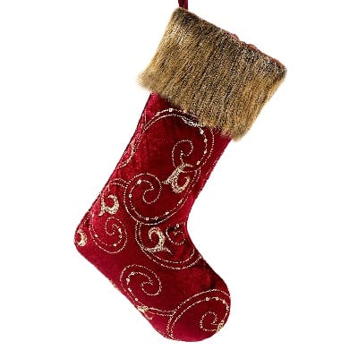 burgundy-and-gold-christmas-stockings-with-sequins Beach Christmas Stockings