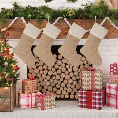 burlap-christmas-stockings Beach Christmas Stockings