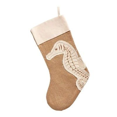burlap-seahorse-christmas-stocking Beach Christmas Stockings