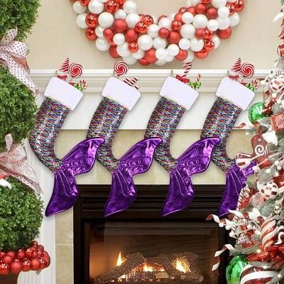 mermaid-tail-christmas-stockings-glitter Beach Christmas Stockings