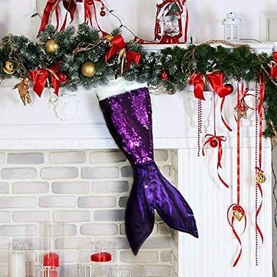 purple-mermaid-tail-christmas-stocking Beach Christmas Stockings