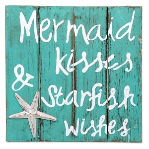 mermaid-kiss-starfish-wishes-wood-sign 100+ Wooden Beach Signs and Wooden Coastal Signs