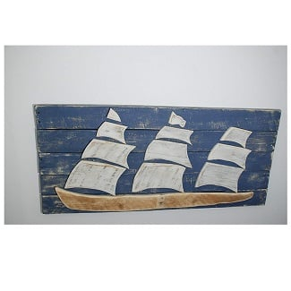 nautical-sailboat-wood-sign 100+ Wooden Beach Signs and Wooden Coastal Signs