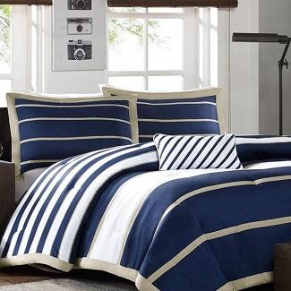 blue-white-khaki-nautical-stripe-comforter 200+ Nautical Bedding Sets and Nautical Comforter Sets