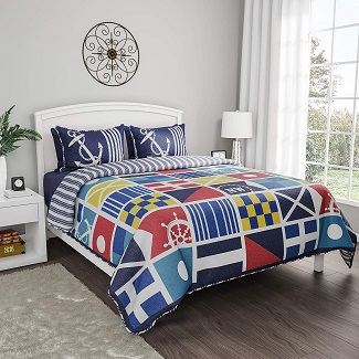 lavish-home-mariner-desk-nautical-quilt Nautical Bedding Sets & Nautical Bedspreads