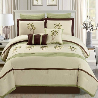 8-Piece-Oversize-Sage-Green-Beige-Brown-Tropical-PALM-TREE-Embroidered-Luxury-Comforter-Set 100+ Palm Tree Bedding Sets, Comforters, Quilts & Duvet Covers