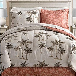 Island-Living-Coral-Tropical-Palm-Tree-Hawaiian-Beach-Reversible-Queen-Comforter-Set 100+ Palm Tree Bedding Sets, Comforters, Quilts & Duvet Covers