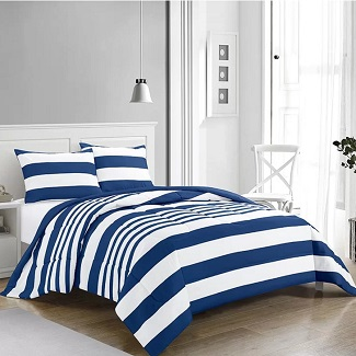 Twin-Comforter-1-Sham-Navy-Newt-Rugby-Stripe-Reversible-Comforter-Set Nautical Bedding Sets & Nautical Bedspreads