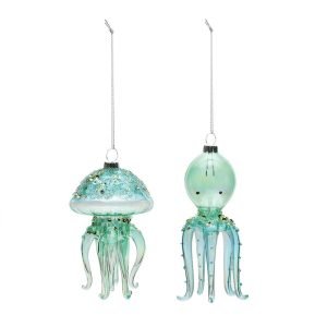 2+Piece+Spun+Glass+Sea+Creature+Hanging+Figurine+Ornament+Set
