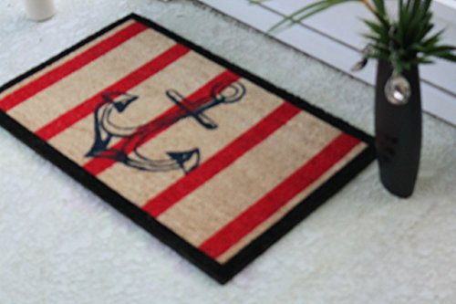 A1 Home Collections Anchor Red And Black Coir Door Mat 0 1
