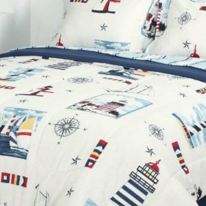 Blue Red Lighthouse Beach Nautical Twin Comforter Set 6pc Bed In A Bag 0 0 300x300
