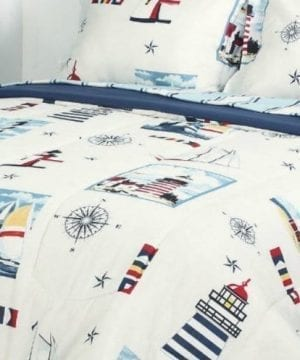 Blue Red Lighthouse Beach Nautical Twin Comforter Set 6pc Bed In A Bag 0 0 300x360