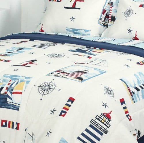Blue Red Lighthouse Nautical Comforter Set 6pc Bed In A Bag