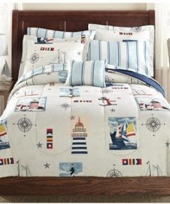 Blue-Red-Lighthouse-Beach-Nautical-Twin-Comforter-Set-6pc-Bed-in-a-Bag-0-247x296 Coastal Bedding In A Bag