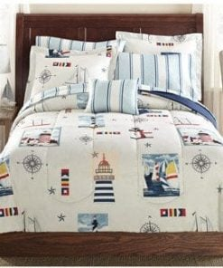 Blue-Red-Lighthouse-Beach-Nautical-Twin-Comforter-Set-6pc-Bed-in-a-Bag-0-247x296 100+ Nautical Bedding Sets