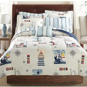 Blue Red Lighthouse Beach Nautical Twin Comforter Set 6pc Bed In A Bag 0 300x300