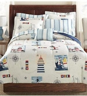 Blue Red Lighthouse Beach Nautical Twin Comforter Set 6pc Bed In A Bag 0 300x328