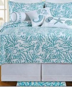 Full-Queen-Quilt-Cora-Blue-Tropical-Beach-Coral-Design-on-One-Side-and-Starfish-and-Shells-on-the-Reverse-Side-90-X-92-100-Cotton-Filled-Prewashed-0-247x296 Coral Bedding Sets and Coral Comforters