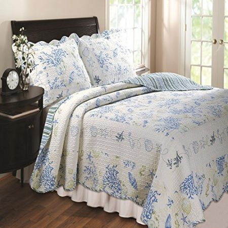 Greenland-Home-Coral-Quilt-Sham-Set-Blue-Twin-FullQueen-Or-King-0-450x450 Coral Bedding Sets and Coral Comforters