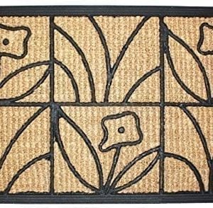 J M Home Fashions Light Daisy Natural Coir And Rubber Doormat 18 Inch By 30 Inch 0 300x294