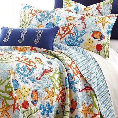 Tropical Fish Coral Starfish Seashell Quilt Set