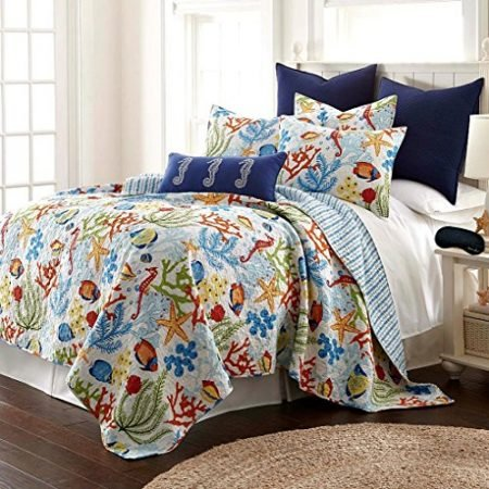 Tropical-Fish-Coral-Starfish-Seashell-Nautical-100-Cotton-Quilt-Shams-Home-Style-Exclusive-Sleep-Mask-Bedding-Bundle-0-450x450 Coral Bedding Sets and Coral Comforters