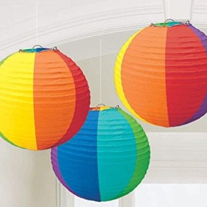 1 X Rainbow Round Paper Lanterns Party Accessory 0 300x300