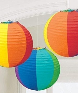 1 X Rainbow Round Paper Lanterns Party Accessory 0 300x360