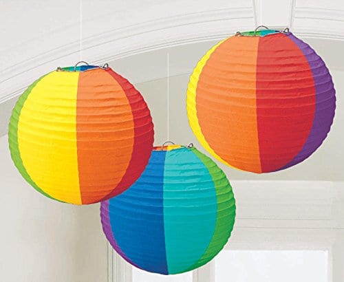 1 X Rainbow Round Paper Lanterns Party Accessory 0