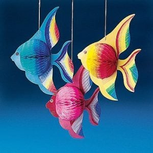 10 Tissue TROPICAL FISH Decorations Set Of 6 0 300x300