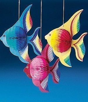 10 Tissue TROPICAL FISH Decorations Set Of 6 0 300x350